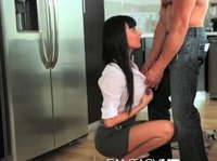 Romantic surprise from kneeling girlfriend