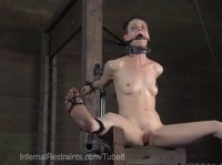 Skinny girl is gagged and spread eagled