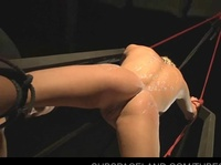 Young girl is obediently taking her punishment