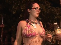 Tipsy milfs wear crazy bras in public