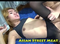 Asian whore teases her client with tight white leggings