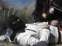 Masked couple fuck outdoors