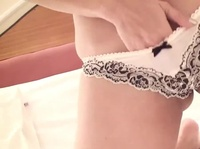 Monica slides her hand inside her lacy panties