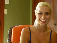 Blonde student gags on her boyfriend's dick