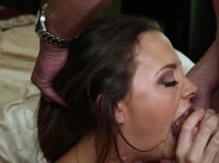 Young woman in jersey takes a cock in her mouth up to the hilt