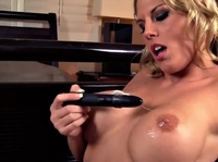 Blonde babe is testing her new vibrator