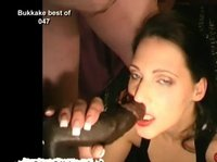 Talented brunette's mouth can't take all the cum