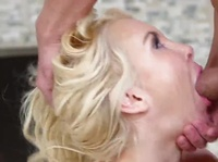 Blonde chick's mouth is capable of taking a pretty big cock