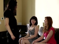 Four hands massage turns into a girls only orgy