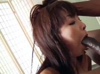 Slim Asian is stretching her little mouth with a black dong