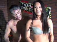 Zombie fucks a cute Asian's mouth