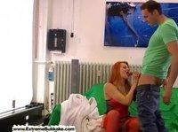 Super sexy redhead visits a photo studio