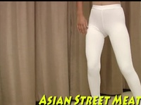 Asian slut in white leggings is all for unusual sensations