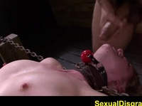 Tied up blonde is experiencing a forced BJ
