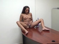 Young brunette get's exposed at the office