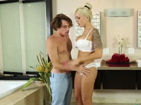 Young dude is seeking a pro masseur and finds this blonde babe