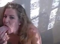 Curly slut gives a very sloppy BJ to her crush