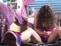 Curly girls hides a vibrator inside her panties
