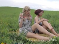 Blossoming field, cigarette and pussy eating