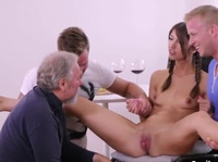 Perverted grandpa finds a new toy for his horny family