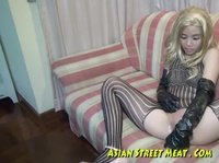 Asian slut in a wig takes it in every position