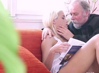 Horny grandpa craves a young blonde pussy