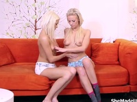 Redhaired milf is giving a master class to two innocent blonde angels