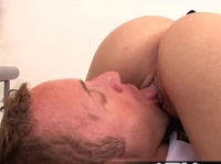 Blonde maid enjoys boss' tongue deep in her pussy