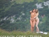 Two mountain village dwellers enjoy the nature in the nude