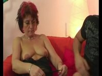 Kinky granny takes a young cock inside her pierced cunt