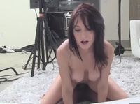 Young cutie is dared to film her sex with a black cock