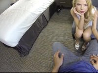 Blonde hotel slut acts all innocent til she loses her clothes