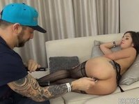 Tattooed dude gets lucky at a casting