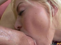 Big butted blonde gobbling on shaved balls