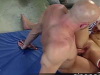 Young brunette with large natural tits falls for a bald dude