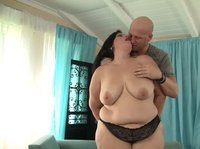 Stunning BBW is generously sharing her beauty with a bald dude