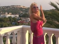 Skinny blonde with aggressive lashes get naked on the balcony