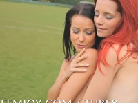 Young soccer players hit the field naked