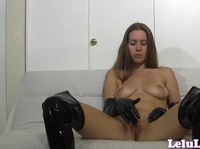 Sexy Lelu plays in latex gloves