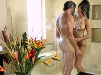 Juicy milf showers with her neighbor