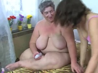 Huge grandmas share a young cock after a glass of wine