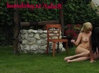 Horny young dude and two hotties party in the backyard