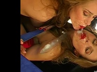 Kinky cock sucker plays with cum