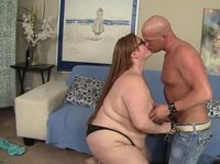 Big lady in glasses falls for a bald dude