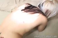 Young slut in seen through panties happily bends over