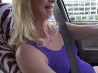 Blonde milf drives a long distance to suck this dick