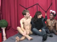 Ebony beauty is introduced to a hard white cock