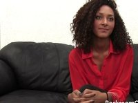 Curly ebony babe tries an adult casting