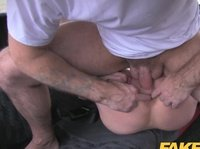 Busty blonde milf pays for the ride with her ass