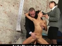 Business lady and her assistant abuse a young submissive girl